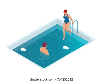 Winter swimming in a frozen river. Man and woman in an ice-hole. Healthy lifestyle. Isometric vector illustration
