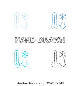 Winter temperature hand drawn icons set. Frosty weather. Thermometer with down arrow and snowflake. Color brush stroke. Isolated vector sketchy illustrations