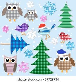 Winter textile stickers. Vector set.