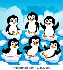 Winter theme with penguins 1 - vector illustration.