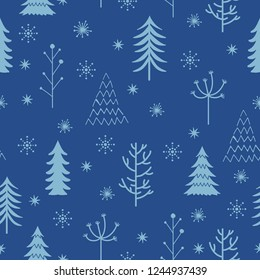 winter theme seamless pattern design with simple tree and snow shape element