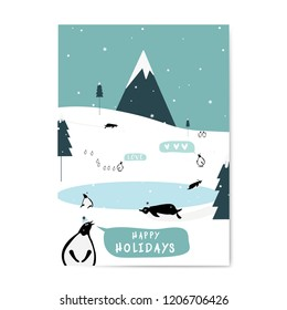 Winter themed postcard design vector