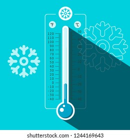 Winter Thermometer Vector Symbol with Cold Temperature on Blue Frozen Background