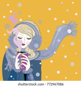 Winter time. Blond hair woman with knitted scarf with beautiful make up holding warm tea mug. Vector illustration on yellow background with snowing