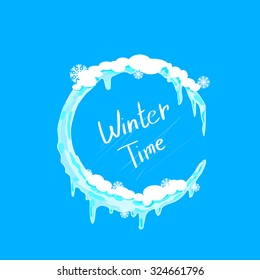 Winter Time Christmas Circle Ice and Snow Logo. Blue Abstract Vector Illustration