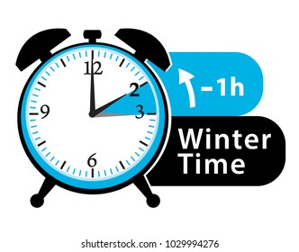 Winter time. Daylight saving time. Fall back alarm clock. Vector icon.