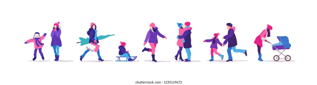 Winter time. Set of people strolling. Outdoor activities. Vector illustration.