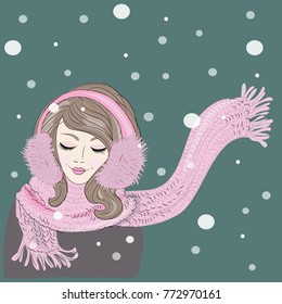 Winter time. Woman with knitted ear flaps and scarf with beautiful make up. Vector illustration on green background with snowing around the woman