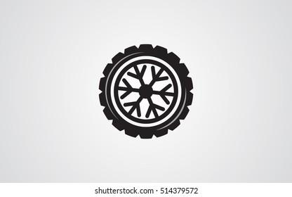 Winter tire abstract illustration snowflake