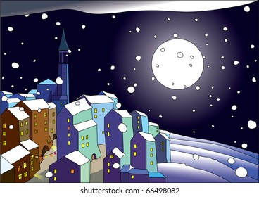 Winter town with the moon - Christmas postcard
