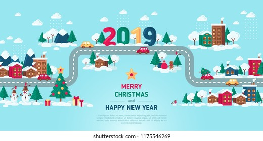 Winter Town Road. Vector illustration. New Year 2019 Template with Flat Icons. City buildings and Fir Trees in Snow, Place for text