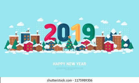 Winter Town Vector illustration with 2019 Numbers. Happy New Year and Merry Christmas Poster or Greeting Card. City Buildings in Snow and Decorated Xmas Tree.