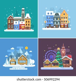 Winter travel backgrounds and landscapes. Christmas fair, Europe town, frozen village in alps and snow city street. New Year holidays and vacation flat backdrops for postcards or website banners.