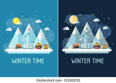 Winter travel landscape with ski resort by day and night. Winter posters with snow mountains, chalet, funiculars and ski slopes. Winter holidays backgrounds or vertical banners in vector flat design.