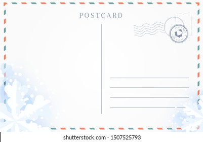 Winter travel postcard backside with border of snowflakes