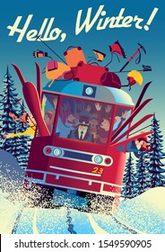 Winter travel poster with railway train in first plan and trees in the background. Handmade drawing vector illustration. Vintage style.