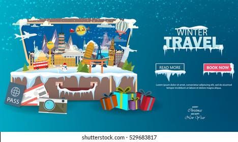 Winter travel. Travel to World. Vacation. Road trip. Tourism. Open suitcase with landmarks. Journey. Travelling illustration. Merry Christmas banners in flat style. EPS 10. Colorful.