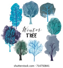 Winter tree set. Vector tree collection.