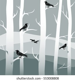 Winter trees with black crows. Vector illustration on grey background