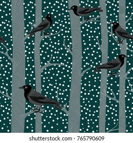 Winter trees with black crows. Vector illustration of black birds sitting on the branches of the trees with snowflakes falling on dark green background. Seamless pattern