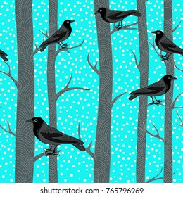 Winter trees with black crows. Vector illustration of  black birds sitting on the branches of the trees with snowflakes falling on light blue background. Seamless pattern.