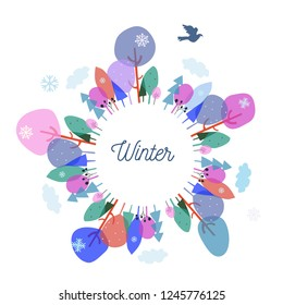 Winter trees and nature frame for the Christmas postcard or banner, vector graphic illustration