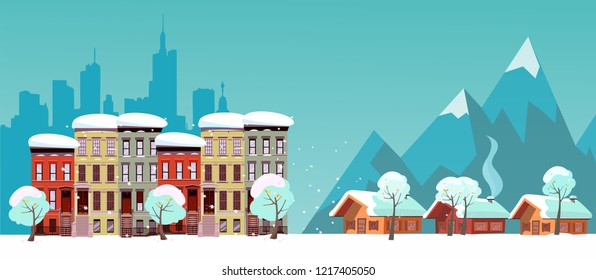 Winter Urban and Countryside Landscape. City Village Real Estate. Citiscape vs suburb. Urban landscape with three-story houses and suburb with private houses on background mountains. Snowy Flat Vector