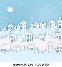 Winter urban countryside landscape, village with cute paper houses, pine trees and clouds. Merry Christmas and New Year paper art background