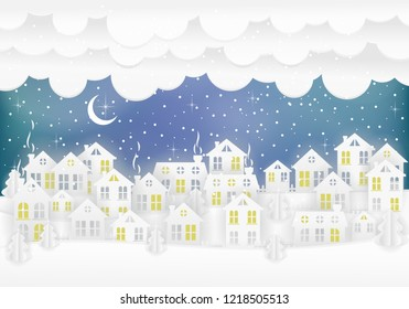 Winter urban countryside landscape village with paper houses, pine trees. Merry Christmas and New Year background. Christmas season paper art style illustration.