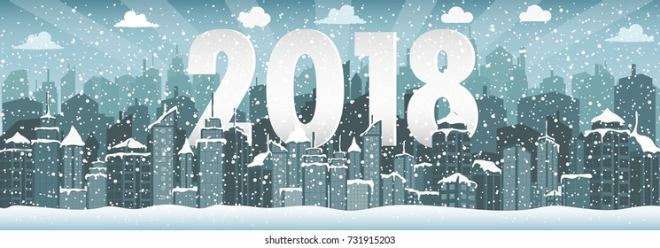 Winter urban landscape. City with snow. Christmas 2018.