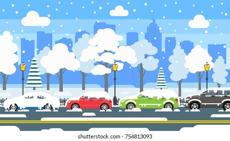 winter urban landscape. city street covered with snow