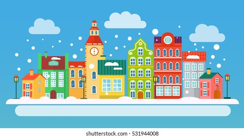 Winter urban landscape in flat style. Vector illustration. Small Town concept