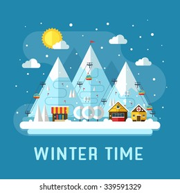 Winter vacation flat landscape. Ski mountain resort concept scene. Winter time landscape in flat design with funiculars, mountains, medicine tent, house and snow. Snow time concept background.