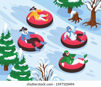 Winter vacation holiday resort outdoor activities for everyone isometric composition with snow tubing park fun vector illustration