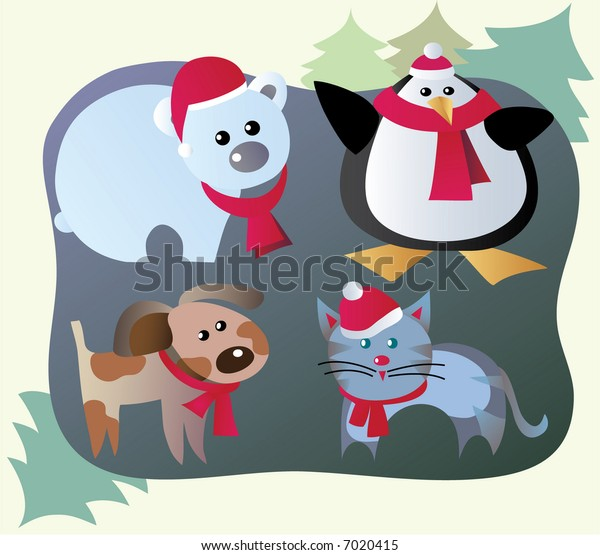winter vacation of pets and wild animals, children story
