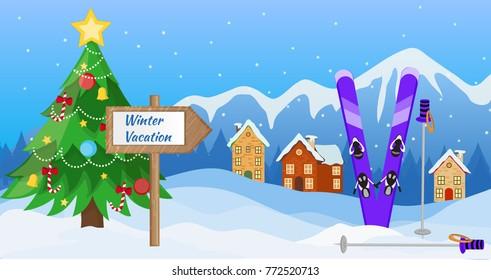 Winter vacation. Winter season. Winter  landscape. Vector illustration.