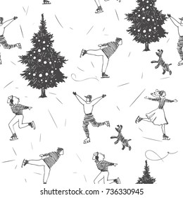 Winter vacation. Vector seamless pattern with New Year symbols. Young people on ice skating rink with fir. Hand drawn illustration in sketch style isolated on white background. Christmas texture
