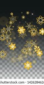 Winter Vector Background with Gold Falling Snowflakes Isolated on Transparent Background. Festival Snow Sparkle Pattern. Snowfall Overlay Print. Winter Sky. Design for  Party Invitation.