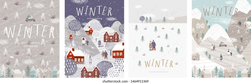 Winter! Vector cute illustrations of nature, landscape, houses, trees, family and people for a  New Year and Christmas background.\n