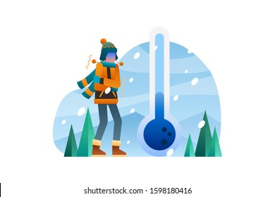 Winter vector illustration background icon element. A man shivering from the extreme cold with a large blue thermoter icon on the background