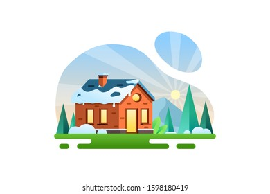 Winter vector illustration background icon element. Transition from winter to spring with ice melting on the roof of the house