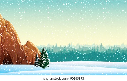 Winter vector landscape with rock and forest