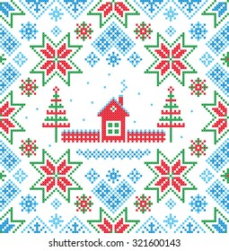 Winter. Vector seamless pattern. Christmas background.