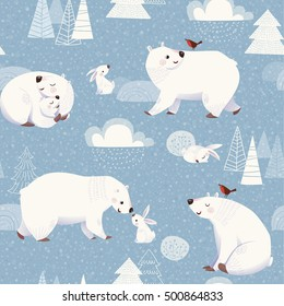 Winter vector seamless pattern with cute polar bears and rabbits and Christmas decorations