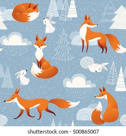 Winter vector seamless pattern with cute foxes and rabbits and Christmas decorations