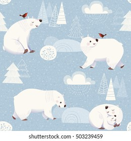 Winter vector seamless pattern with cute polar bears and Christmas decorations