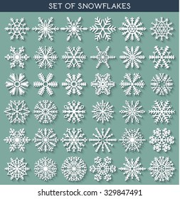 Winter vector snowflakes of handmade with long shadow.