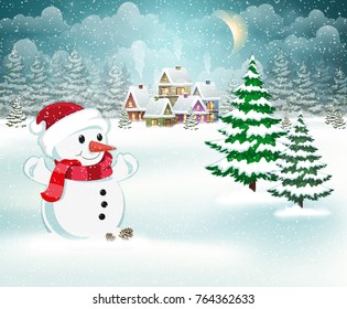 Winter village background with snow covered houses and snowman in Santa hat and red scarf
