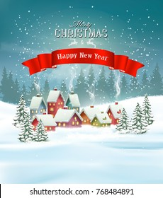 Winter village Christmas Holiday background. Vector.