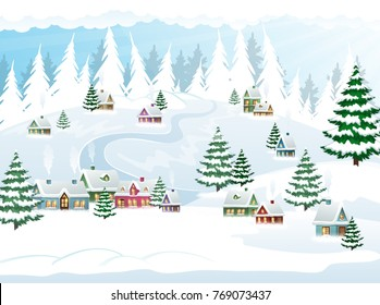 Winter village landscape with forest and huts covered with snow. Christmas Holiday vector illustration